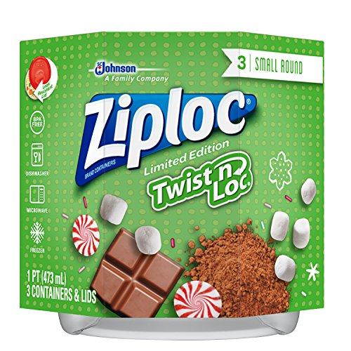 Ziploc Limited Edition Holiday Twist n Loc Container, Red, Small, 3 Count
