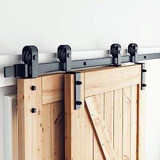 """SMARTSTANDARD 6.6ft Bypass Sliding Barn Door Hardware Kit - Upgraded One-Piece Flat Track for Double Wooden Doors - Smoothly &Quietly - Easy to Install -Fit 36""""-40"""" Wide Door Panel(J Shape Hanger)"""