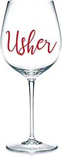 'Usher' Decalcomanie adesive in vinile, adesivi per bicchieri, tazze, cancelleria. Vino, birra. Regalo di matrimonio.
