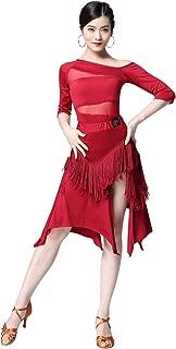 ZX Women's Latin Salsa Ballroom Dance Dress Sexy Top and Side Split Fringe Dance Skirt 2 Pieces Outfits