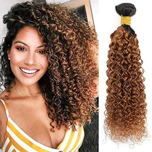 Ombre Curly Wavy Human Hair Bundles 100% Brazilian Remy Hair Extension Bundles 1B 30 Brown Kinky Curly Human Hair Weave Bundles Double Strong Weft Curly Hair Tight Neat Bundles 100 Gram 1 Piece 24 Inch