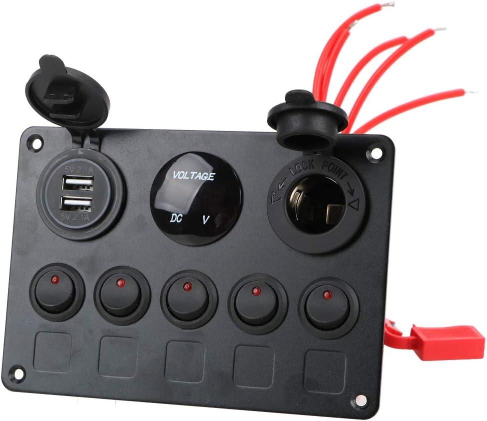 Azul NNMNBV Digital Voltmeter Dual USB Port 12V Outlet Combination Waterproof Car Marine Boat LED Rocker Switch Panel