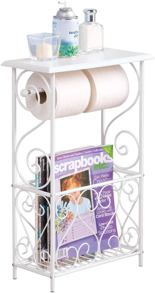 New Magazine Toilet Paper Holder Small Bathroom Table Rack Stand Organizer Black