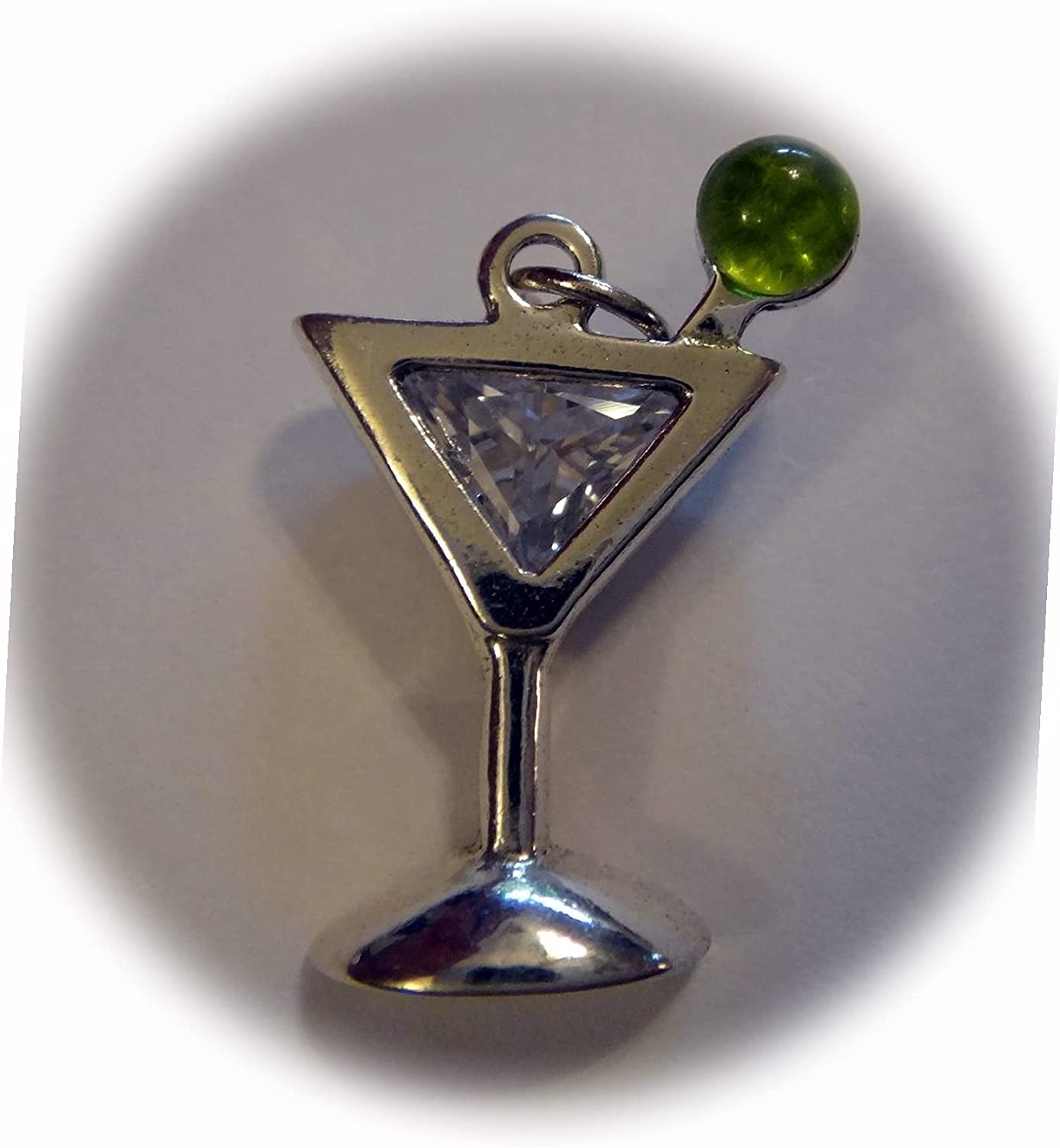 New Sterling Manufacturer OFFicial Outlet sale feature shop Silver 20x10mm Martini Olive Cryst Glass Green CZ