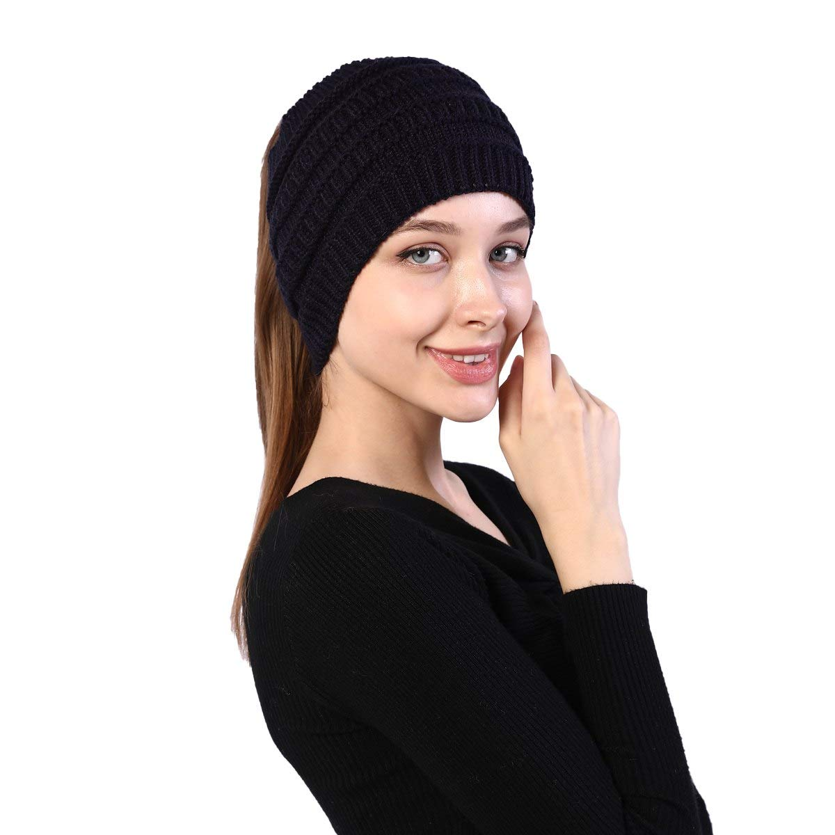 Winter Ear Discount mail order Warmer Cable Knit Ponytail for Women Headband 5 ☆ popular Beanie
