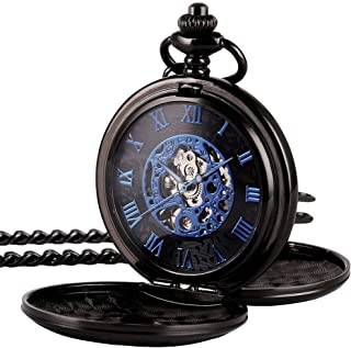 Mens Pocket Watch Black Half Hunter Double Cover Skeleton Mechanical Blue Roman Numeral Fob Watch