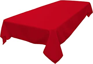 LA Linen Polyester Poplin Rectangular Tablecloth, 60 x 84, Red