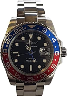 GMT Master Navy Seal Swiss Men's GMT Watch Black Dial, 316L CASE - RED and Blue Ceramic Bezel, Swiss Quartz Movement, Men's Watch Pro Diver Watch, Sapphire Glass