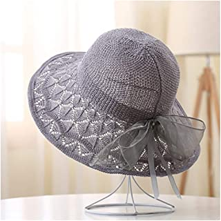 WYMAI Summer Visor Female New Summer Travel Seaside Beach mesh Eye hat Bow hat Simple and Practical Product (Color : Gray)