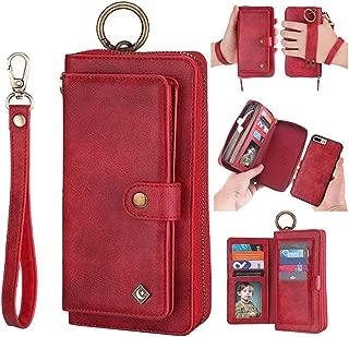 iPhone 7 Plus Wallet Case - JAZ Zipper Purse Detachable Magnetic14 Card Slots Card Slots Money Pocket Clutch Leather Wallet Case for iPhone 8 Plus/iPhone 7 Plus Red