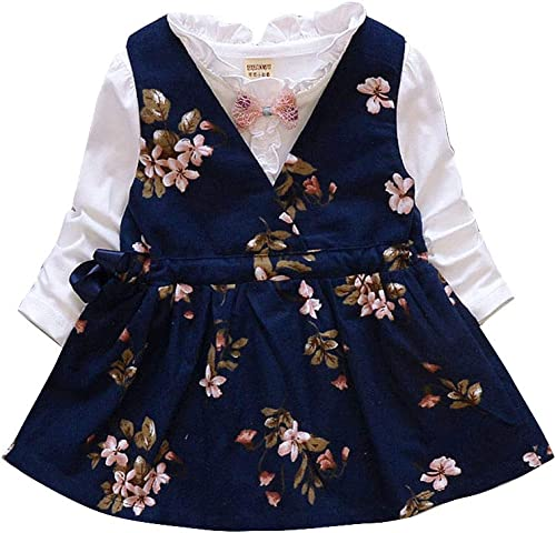Baby Girls Cotton Top And Dress Set In Navy Color For Ages 12 24 Months