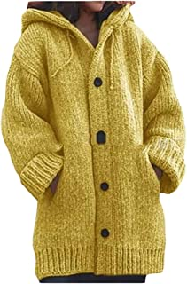 Macondoo Women's Knitted Button Winter Hoody Coat Jacket Cardigan with Pocket