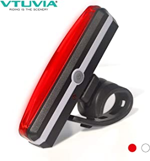 VTUVIA USB Rechargeable Bike Tail Light, Waterproof Bicycle LED Rear Light, 5 Flashing & Constant Modes with 2 Colors