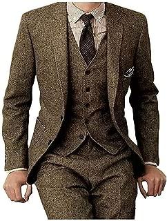 Men's Tweed Check Tan Tuxedos Groom Slim Fit Formal Vintage 3 Pieces Suit