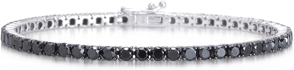 Bracciale tennis in argento 925 rodiato con zirconi neri taglio diamante unisex B2B