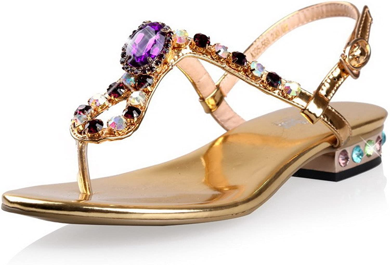 AmoonyFashion Women's Buckle Blend Materials Split-Toe Low-Heels Solid Sandals