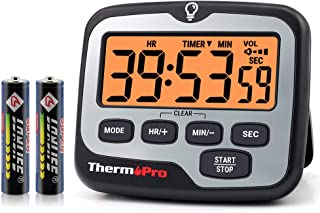 ThermoPro TM01 Digital Kitchen Timer with Touchable Backlit and Count up Countdown Timer Loud Ring Magnetic Classroom Time...