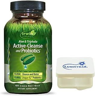 Irwin Naturals Active-Cleanse & Probiotics Aloe & Triphala Cleanse & Detox 2-Part Colon Care Formula - 60 Liquid Soft-Gels - Bundle with a Lumintrail Pill Case