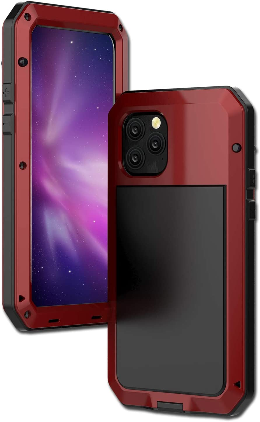 CarterLily iPhone 11 Case, Full Body Shockproof Dustproof Waterproof Aluminum Alloy Metal Gorilla Glass Cover Case for Apple iPhone 11 6.1 inch (Red)