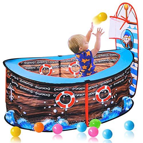 WEILY Kinder-Spiel-Spiel-Zelt, Indoor Kids Pop Up-Ball-Spiel-Zelt, beweglicher Fun Playhouse Kugel-Grube Pool mit Basketballkorb, Piraten-Schiffs-Zelt für Kinder