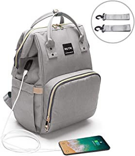 Baby Diaper Bag Backpack,NUTK Multi-Function Waterproof Nappy Bags,Large Capacity, Durable and Stylish Travel Backpack with USB Charging Port for Mom Dad Men,Grey