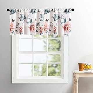 MRTREES Sheer Valances Curtains 16 inch Length Peach Red Floral Print Valance Cotton Blend Semi Sheers Living Room Multi Color Leaf Flower Printed Voile Bedroom Window Treatment Rod Pocket 1 Panel