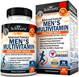 Men's Multivitamin Advanced Formula with Zinc, A, B, C, D3, E Vitamins - Daily Supplement for Heart Health Support - Promotes Mental Clarity & Focus - for Whole Body Health -30 Capsules