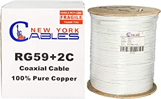 RG59 Coax Cable Pure Copper 500ft 20AWG CCA Siamese Cable for Home Security Camera System (CCTV)   Water, Oil & Flame-Resi...