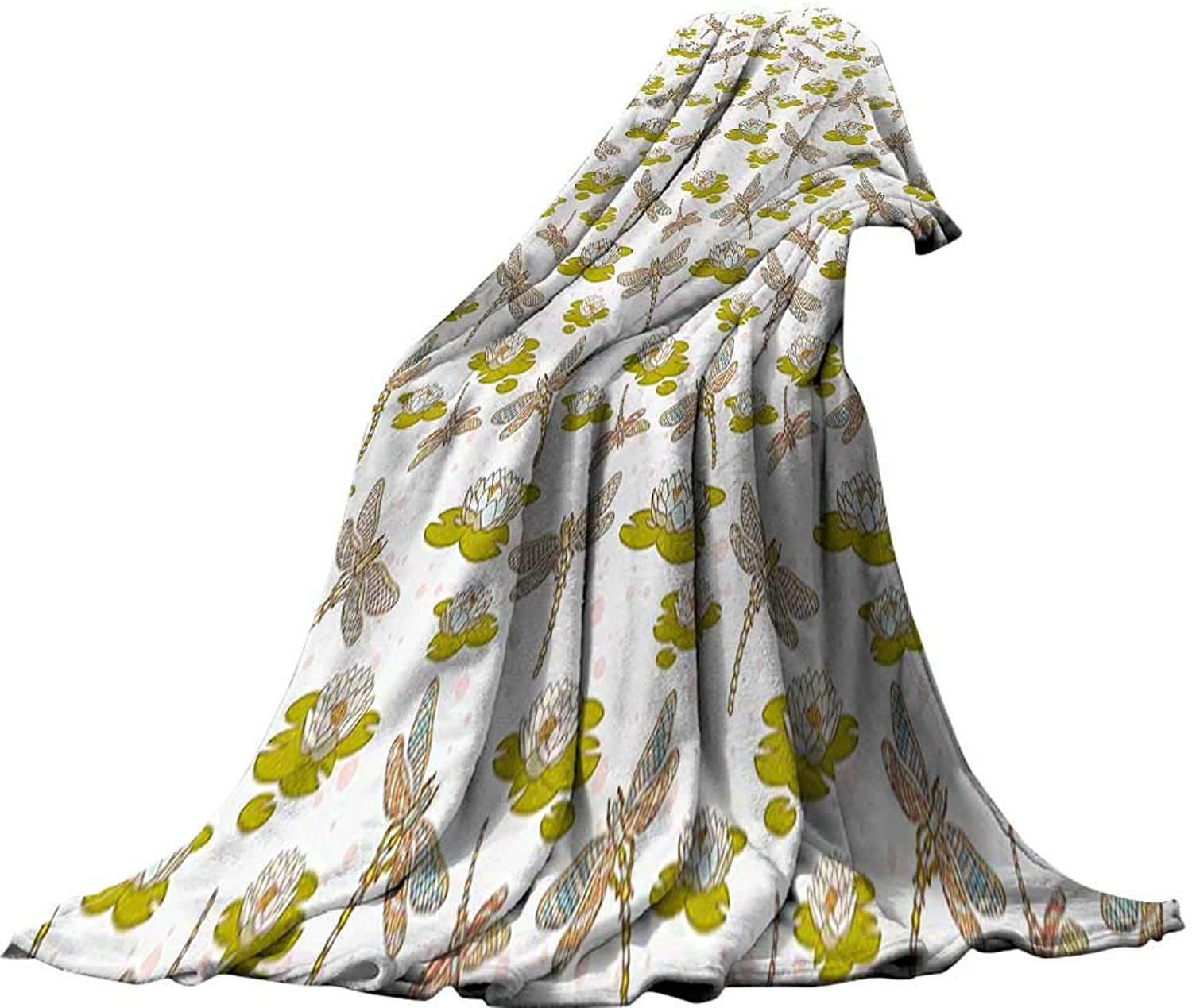 QINYAN-Home Weave Pattern Extra Long Blanket (60 x60 ) Summer Quilt Comforter Dragonfly River Side Flowers Loddon Lilies Leaves with Mosaic Pattern Like Wings Image Multicolor.