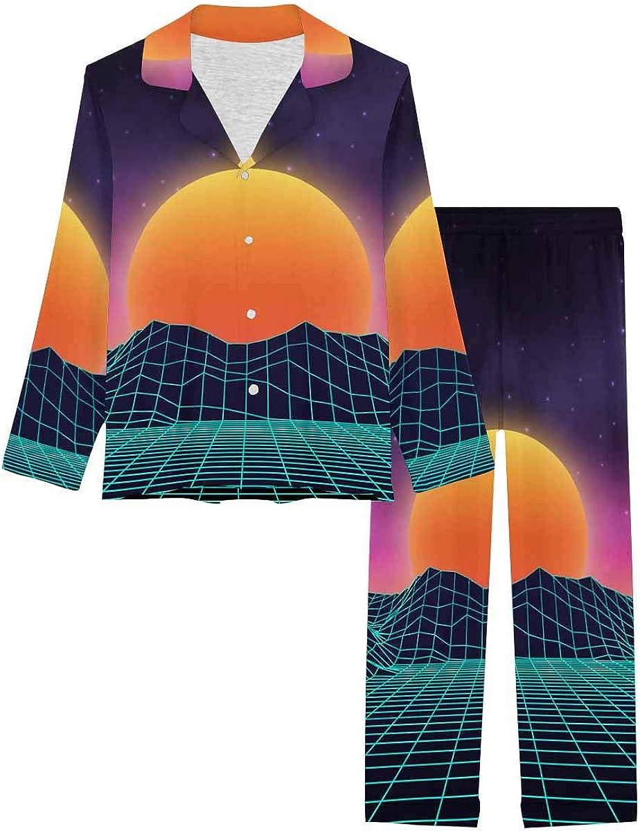 InterestPrint Long Sleeve Nightwear Button Down Loungewear for Women Futuristic Retro Landscape