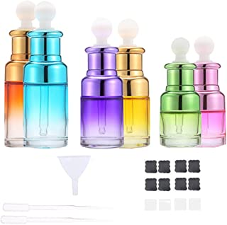 Glass Refillable Empty Bottles with Dropper for Essential Oils Colognes Perfumes DIY Supplies Tools Different Colors 6 Pack