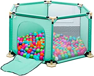 LXDDP Playpen Hexagon Anti-rollover Toddlers Playpen  Safety Green Baby with Door  Anti-collision Nursery Center Kids Play Fence