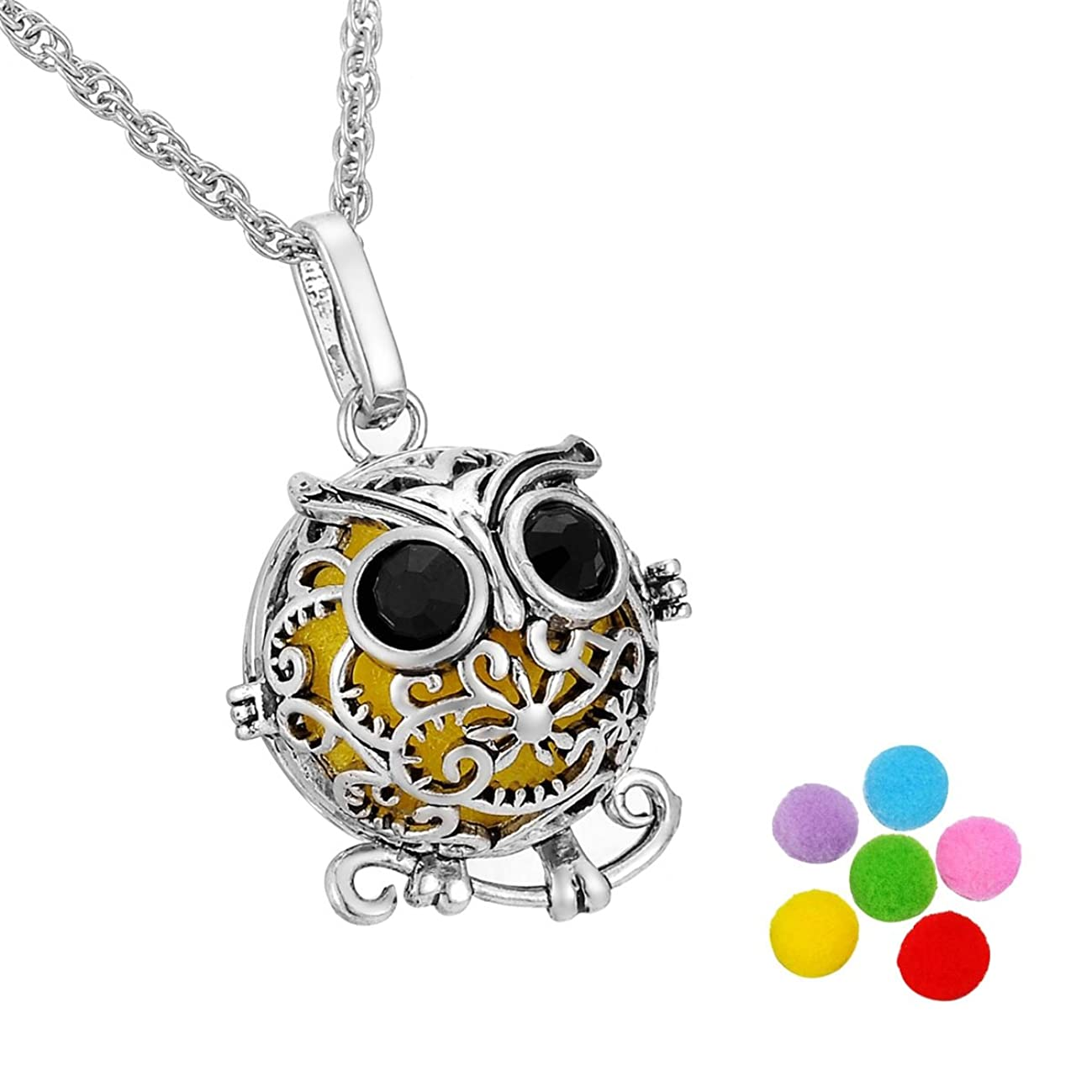 HooAMI Aromatherapy Essential Oil Diffuser Necklace Owl Locket Pendant with 6 Multi-Colored Refill Pads