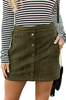 Women's Button Front Faux Suede High Waist A-line Mini Skirt with Pocket