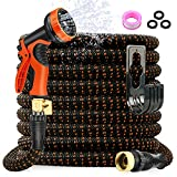 AXUAN 100FT Garden Hose Expandable Hose, Flexible Water Hose with 10 Function Spray Nozzle, Car Wash Hose with Solid Brass Connector, Leakproof Lightweight Expanding Pipe for Watering and Washing