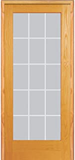 National Door Company ZZ19968L Unfinished Pine Wood 15 Lite V-Groove Clear Glass, Left Hand Prehung Interior Door, 36
