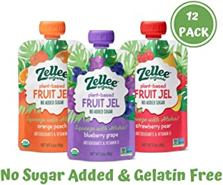 Zellee Certified Organic Fruit Jel Pouches | Variety Pack | 12 pack | Non-GMO, Gluten-Free, Vegan, Plant-Based, No Added Sugar, Antioxidant Rich | Healthy Snack for Adults & Kids | Jello Alternative