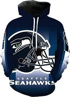 JJCat Men's Long Sleeve Hooded 3D Print Seattle Seahawks Football Team Pullover Hoodies