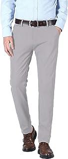 Plaid&Plain Men's Slim Fit Dress Pants Stretch Dress Pants