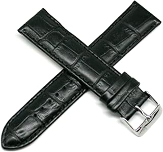 Lucien Piccard 22MM Alligator Grain Genuine Leather Watch Strap Band 8.5 Inches Black with Silver LP Buckle