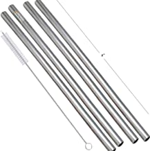 Prisha India Craft Eco-friendly Stainless Steel Plain Drinking Straight Straws, Best for Parties, Barware, | Set of 4 | Le...