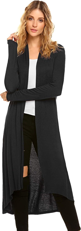 Women's Lightweight Long Sleeve Draped Open Front High Low Maxi Long Cardigans Sweaters