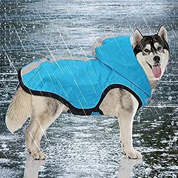🐾 【2 in 1 Hunderegenmanteljacke】 Der leichte Hunderegenmantel besteht aus hochwertigem wasserdichtem und knitterfreiem Material. Es hat eine hohe Wasserbeständigkeit und hohe Atmungsaktivität; Das einzigartige Sturmgewebe kann als Regenmantel oder Ou...