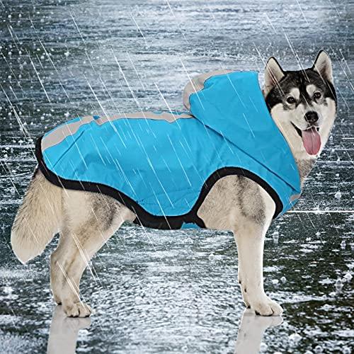 Idepet 2-in-1 hond waterdichte jas regenjas, huisdier lichtgewicht jumpsuit hond capuchon full-cover ademende regenponcho met harnas gat reflecterende strip voor kleine middelgrote grote honden (blauw, 3XL)