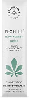 BEEKEEPER'S NATURALS B. Chill Honey Stick - Raw Honey and Extract - Helps with Stress Relief, Sleep Aid & Zen - 100% Raw E...