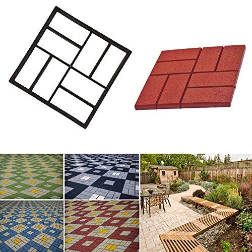 Moule en plastique pour pavement de jardin Woopower - 40 x 40 cm - Pavage manuel de ciment, briques, pierres, Noir , 40*40*4cm/15.75\
