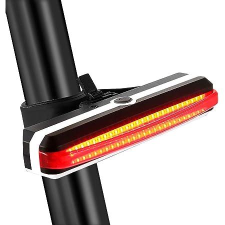 Redlemon Luz para Bicicleta Trasera, Leds Rojos y Azules, Impermeable, 5 Modos e Intensidades de Iluminación, Batería Recargable de Larga Duración vía USB, Fácil Instalación