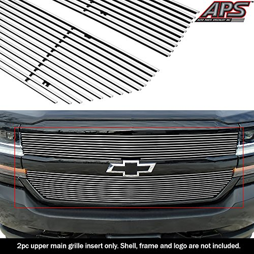 APS Compatible with 2016-2018 Chevy Silverado 1500 & 19 Silverado 1500 LD Main Upper Aluminum Chrome Horizontal Billet Grille Insert C66360A