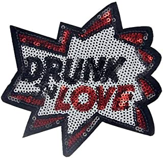 Ximkee (10 Pack) Drunk in Love Sequin Embroidered Sew Iron On Applique Patches