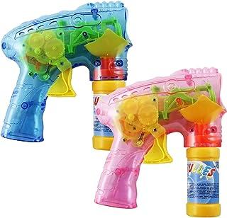com-four® 2X Pistola de Burbujas LED con Agua de Burbujas, máquina de Burbujas Transparente para niños y Adultos, Pistola de Burbujas como Regalo (02 Piezas - Mix3)